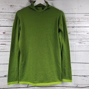 Title Nine Green Striped Long Sleeve Turtle Neck